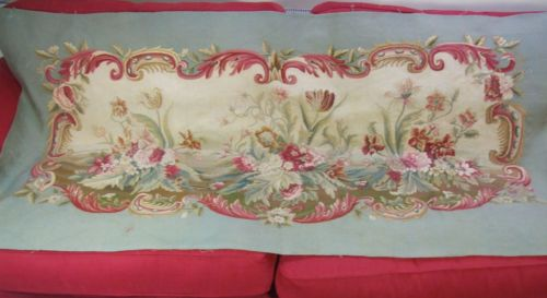Antique-French-Aubusson-Tapestry-Weave-Panel-Time-Worn-Floral-Decor-Roses