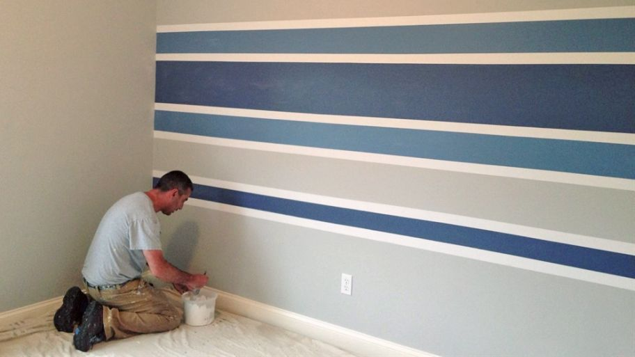 Striped Walls Bedroom Image By Vanessa Harrell On Big Boy S Room Striped Walls Horizontal Striped Room