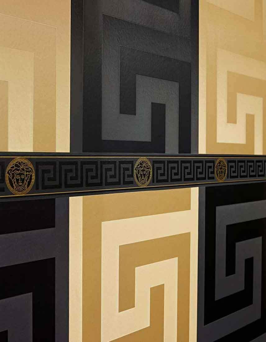 93523 4 Solea Black Satin Greek Key Wallpaper Versace Wallpaper Gold Luxury Wallpaper Luxury Wallpaper