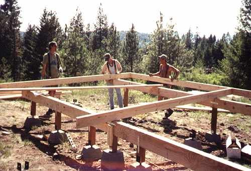 Cabin foundations framing up the postand pier foundation for Pier foundation cabin plans