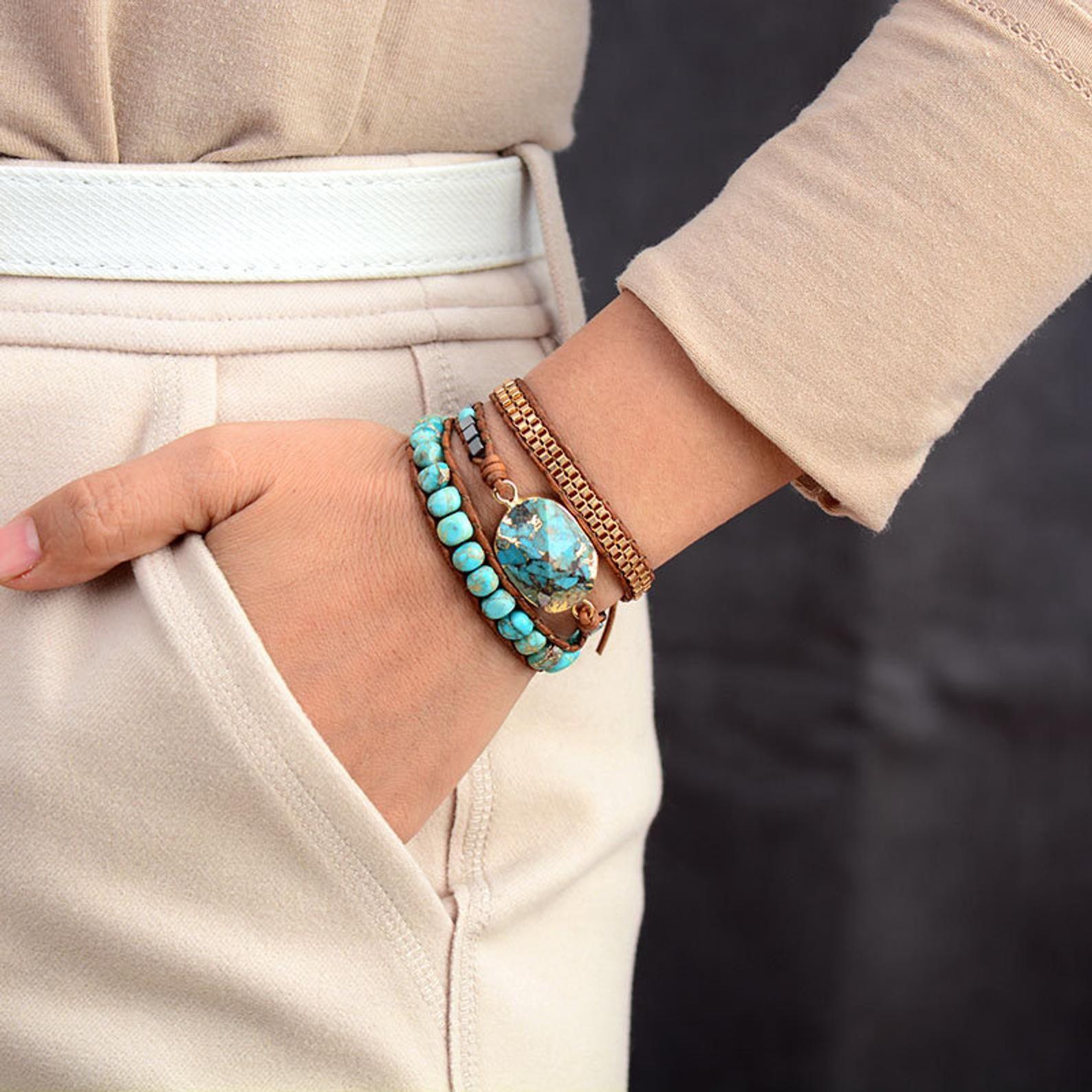 Bracelet with turquoise boho bracelet gemstone bracelet