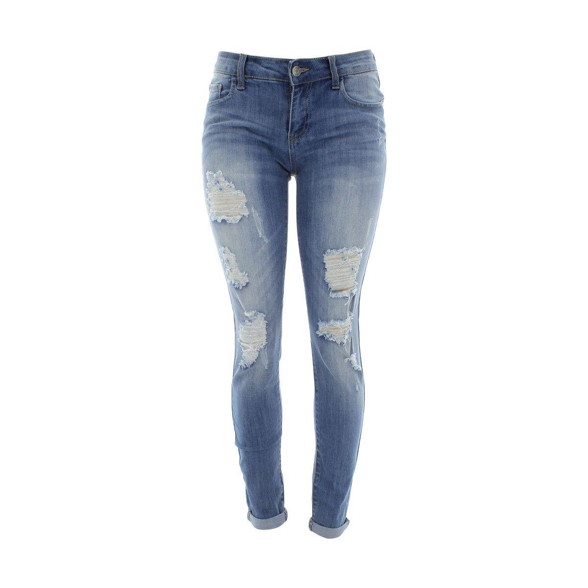 Cello Jeans - Women's Rips Roll Cuff Skinny Jeans - Light Blue ...