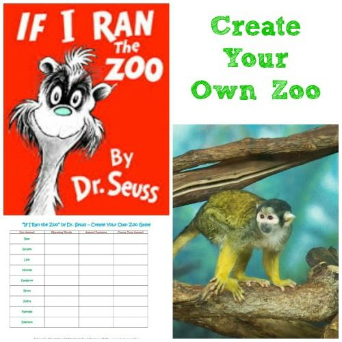 """Read """"If I Ran the Zoo""""  create your own Zoo animals with this free printable -- fun creative writing activity!"""