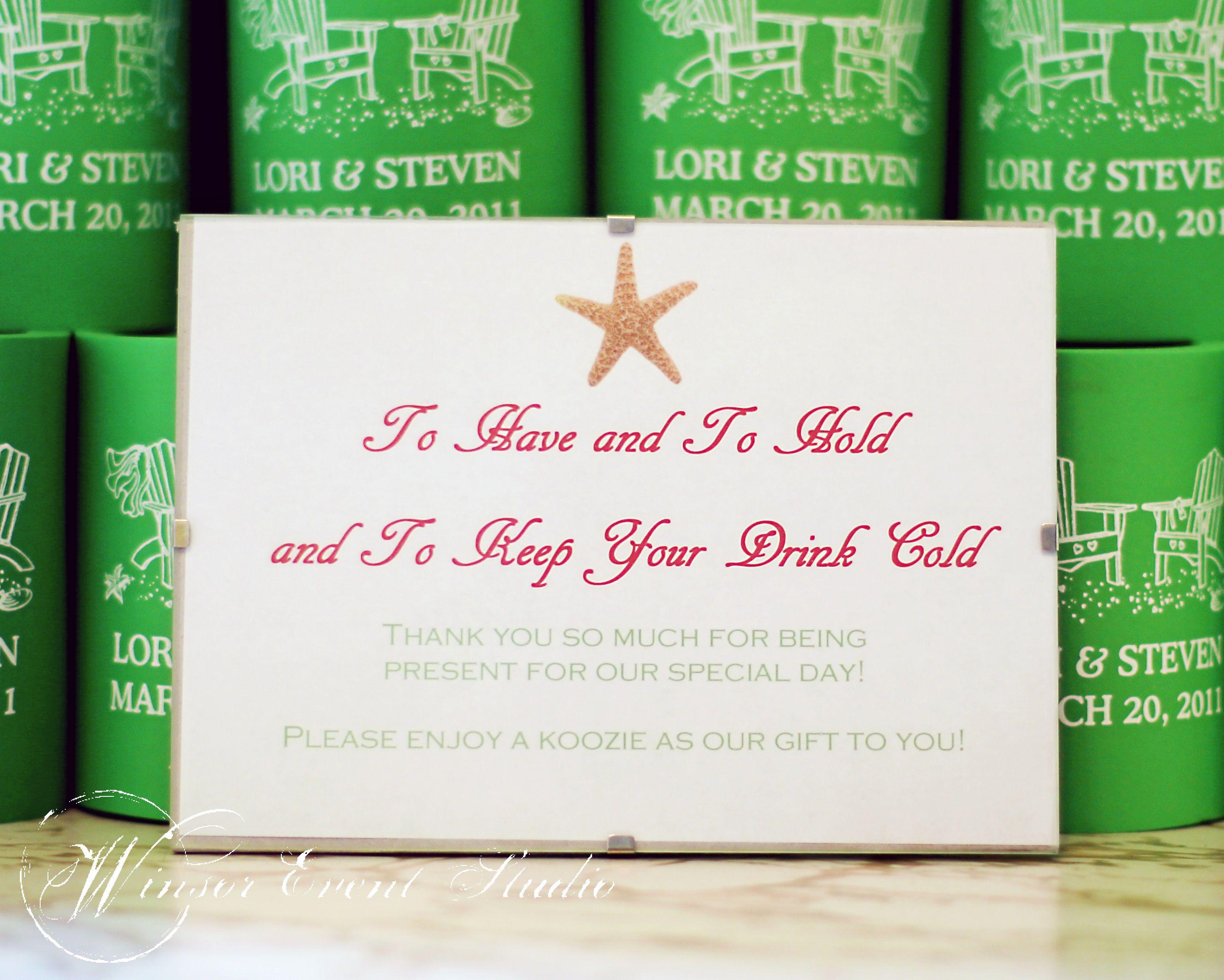 Custom koozie favors were a perfect treat for laid-back guests ...