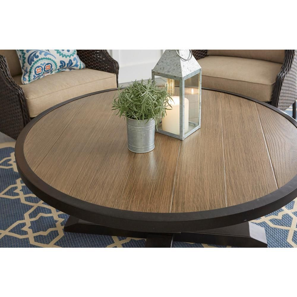 Hampton Bay Grayson Brown Round Steel Outdoor Patio Coffee Table Fm 18068 Tb The Home Depot In 2021 Coffee Table Painted Table Tops Outdoor Coffee Tables [ 1000 x 1000 Pixel ]