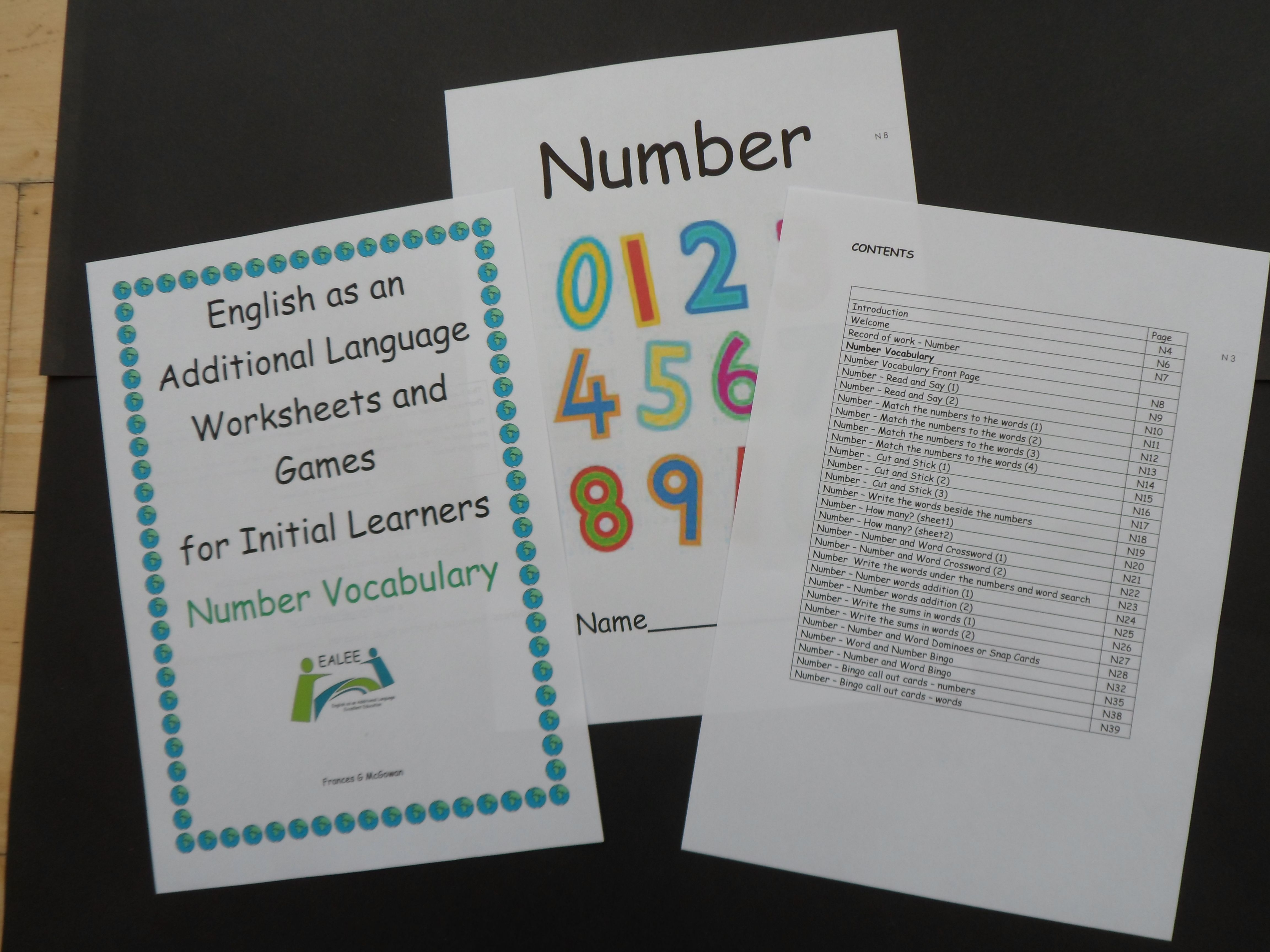 This is booklet 3 called EAL worksheets and Games for Initial ...