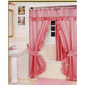 Double Swag Shower Curtain Liner Rings Rose Pink Double