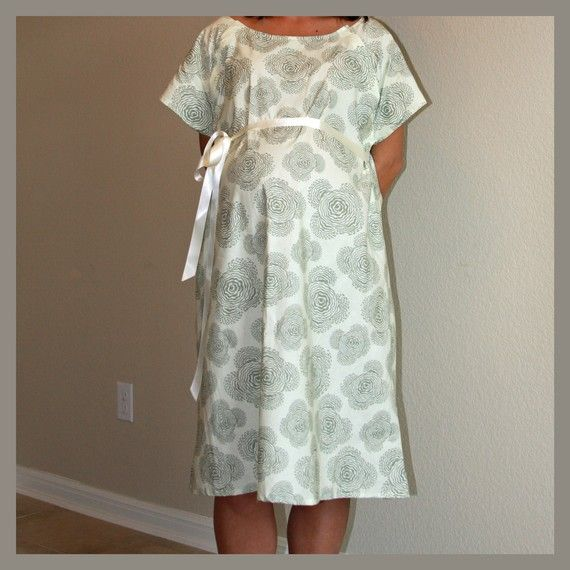 Black Damask Maternity Hospital Delivery Gown Super Soft