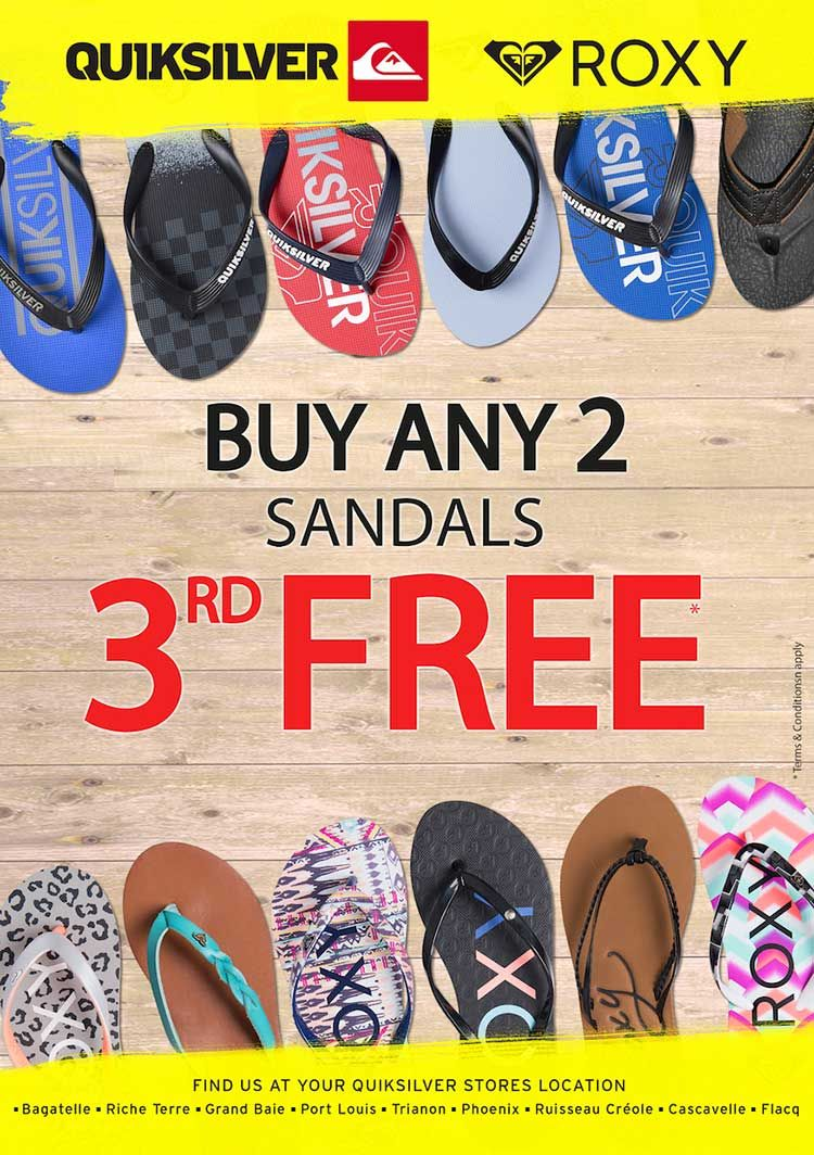 ec263ed798c QUIKSILVER  Deal of the month – GET 3 flip flops for purchase of 2 pairs.  Tel  401 1484