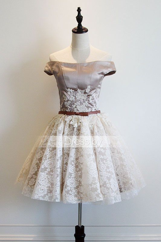 Cute white lace off shoulder short prom dress, cute homecoming dress ...
