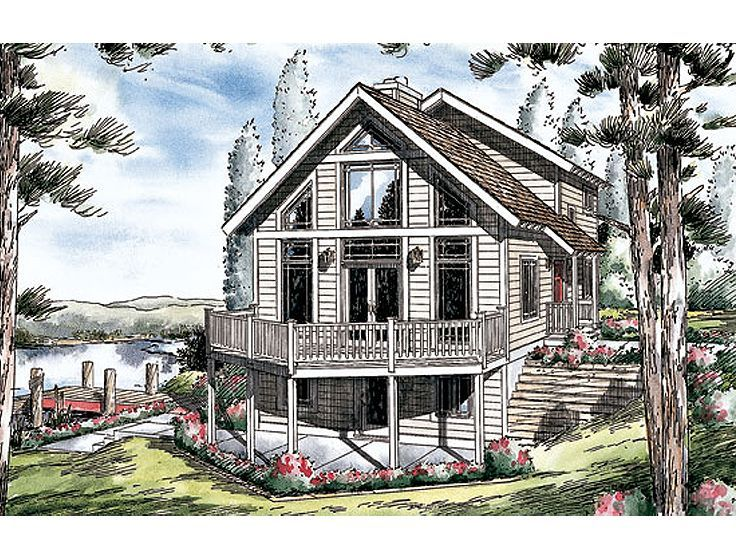 047h 0022 Waterfront House Plan Fits A Narrow Lot Bungalow Style House Plans Cottage Style House Plans Vacation House Plans