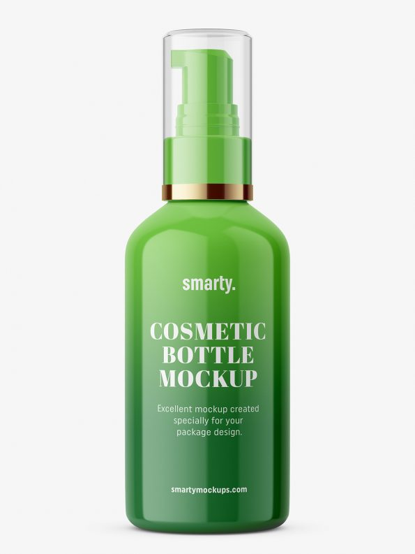 Glossy Cosmetic Bottle With Pump Cosmetic Bottles Glossier Cosmetics Cosmetics Mockup