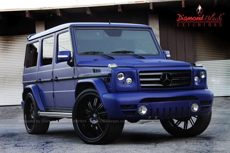 Mercedes benz g class wrapped in brushed metallic blue for Mercedes benz truck g class