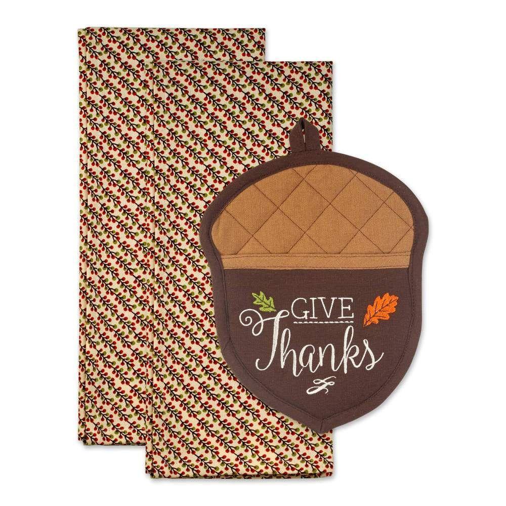 Gobble Til You Wobble Thanksgiving Potholder Set