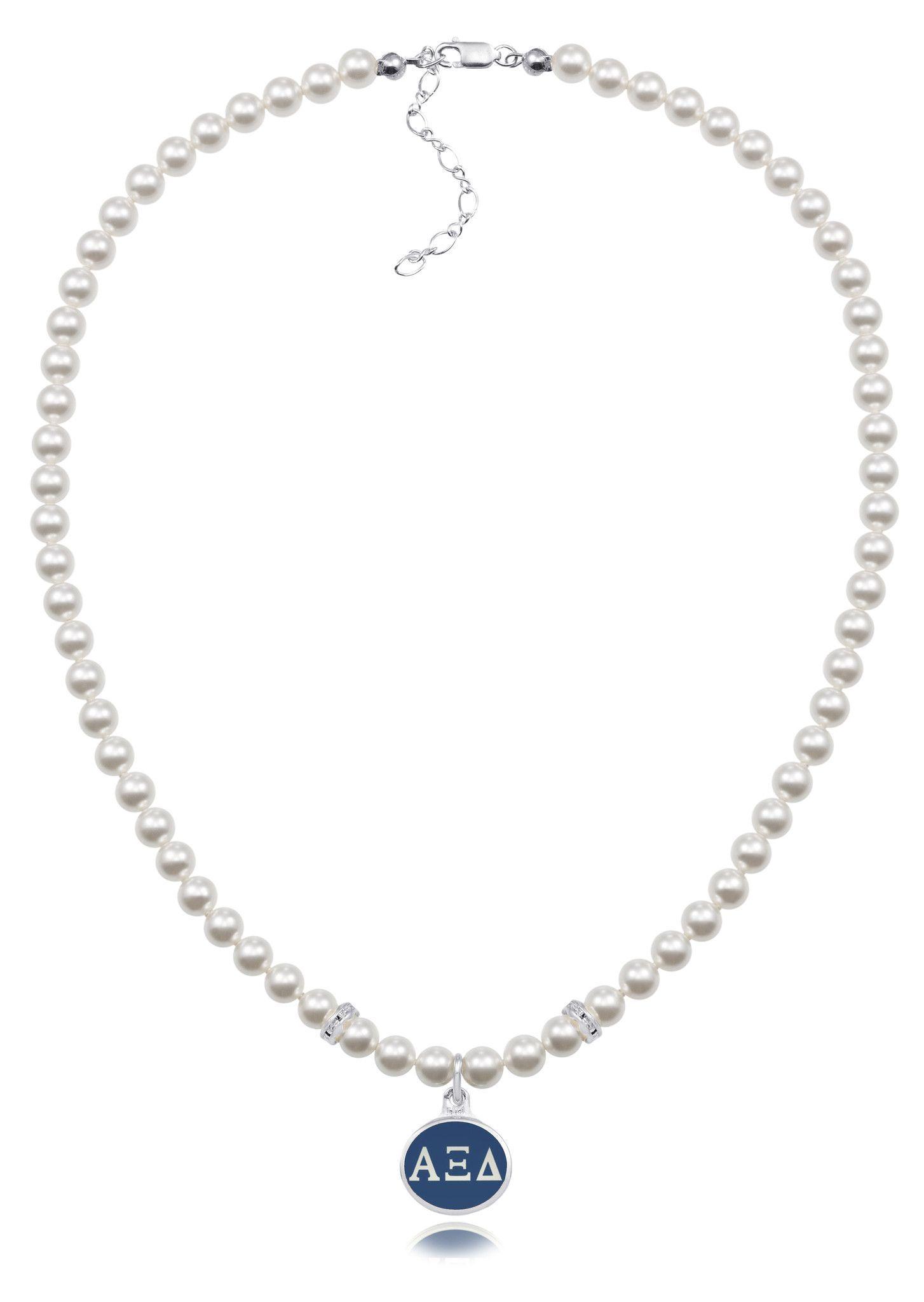 Alpha Xi Delta Swarovski White Pearl Necklace with Enamel Charm