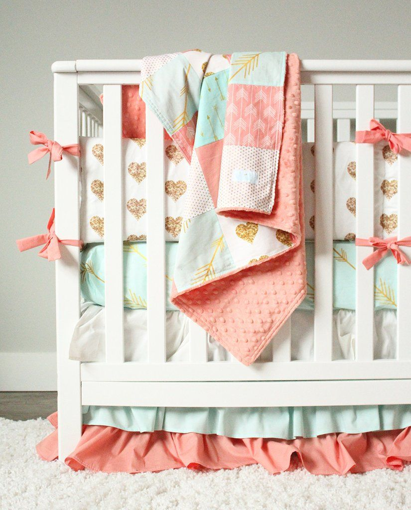 Coral Mint And Gold Crib Bedding Crib Bedding Girl Gold Crib