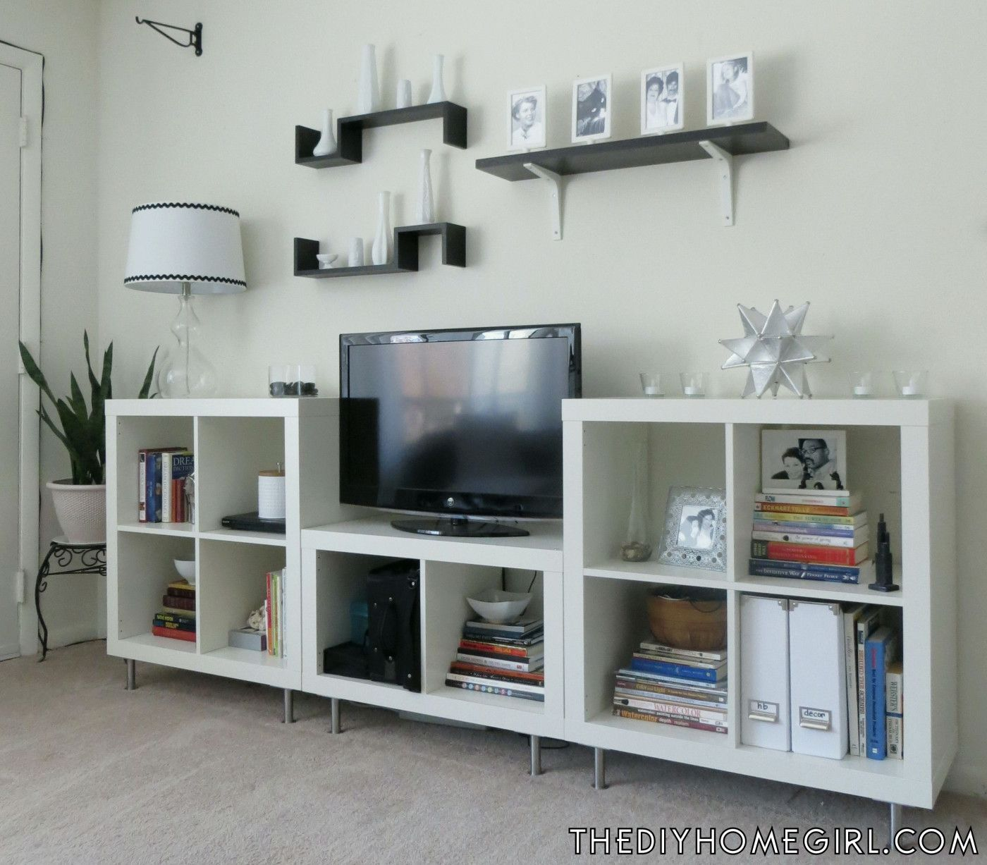 Entertainment Center Makeover With White Expedit Bookshelves Capita Legs From IKEA Silver Black Mod Moroccan Living Room The Decor Guru