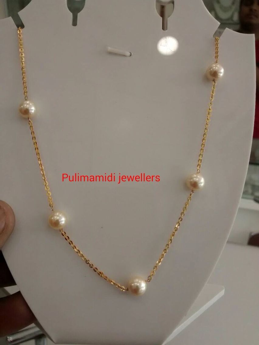 eb45f0d42180d Simple pearl chain | light weight jewellery in 2019 | Pearl jewelry ...