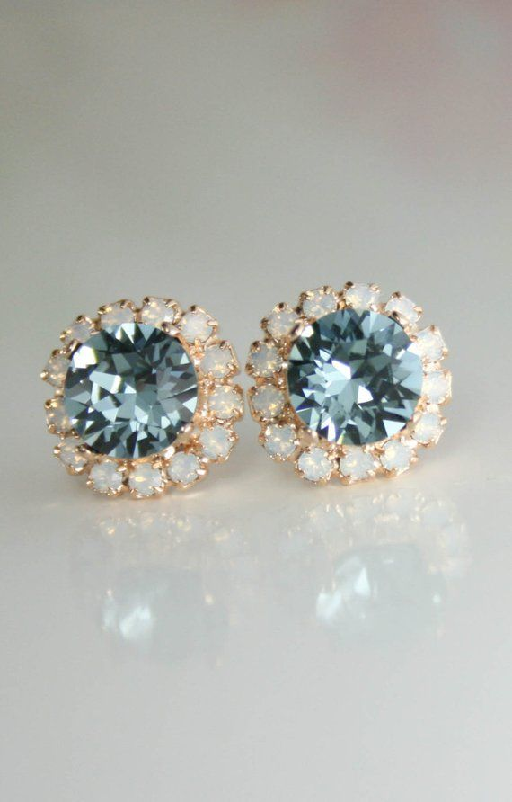 Indian Shire White Opal Crystal Stud Earrings Swarovski