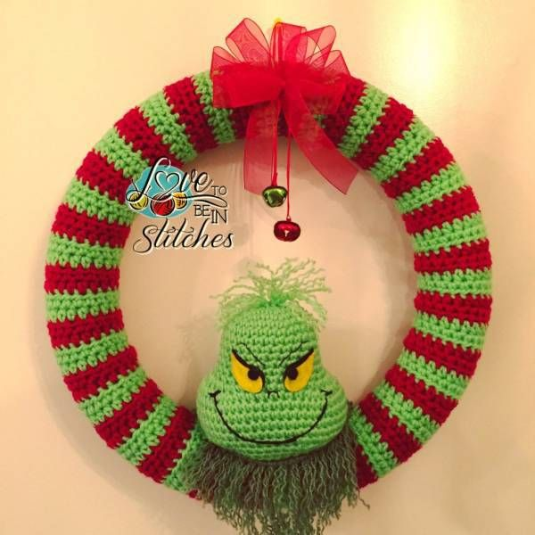 Free Pattern – Grinch Christmas Wreath (Crochet | Patrones amigurumi ...
