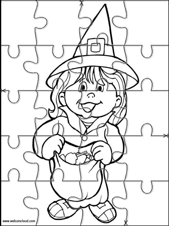 Printable jigsaw puzzles to cut out for kids Halloween 5 Coloring ...