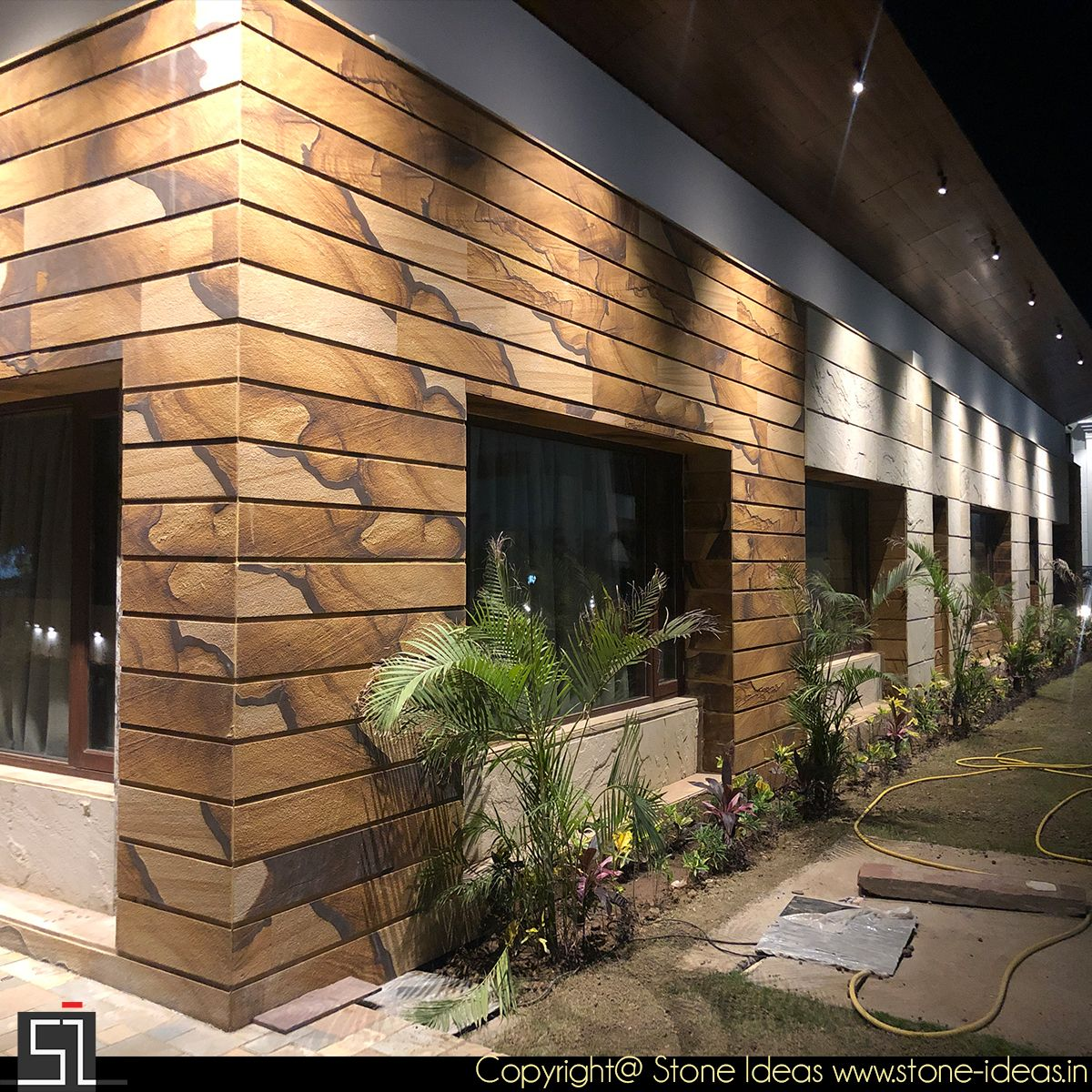 Clientdiaries Wooden Fossil Stone Tiles For Front Elevation Walls Creates Magnificent Effect Exterior Wall Tiles Wall Tiles Design Stone Cladding Texture