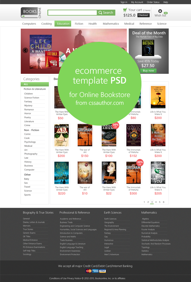 20 Beautiful Web Design Template PSD for Free Download   Bookstore ...