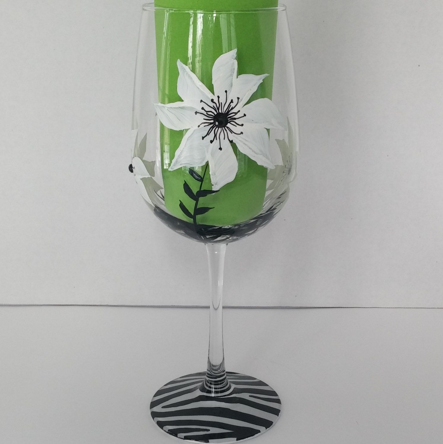 Black and white floral hand painted wine glasses by