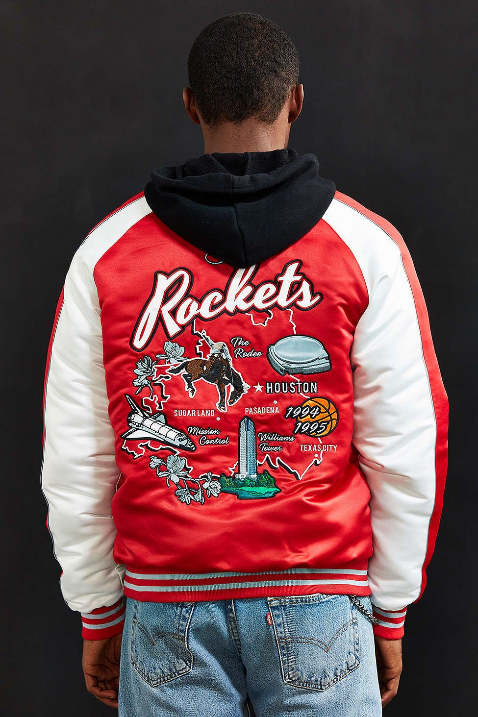 quality design b75f7 e5768 Starter Black Label + UO NBA Houston Rockets Souvenir Jacket ...