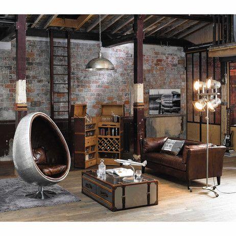 Sofa 3 sitzig aus vintage leder braun prescott prescott for Sofa industriedesign
