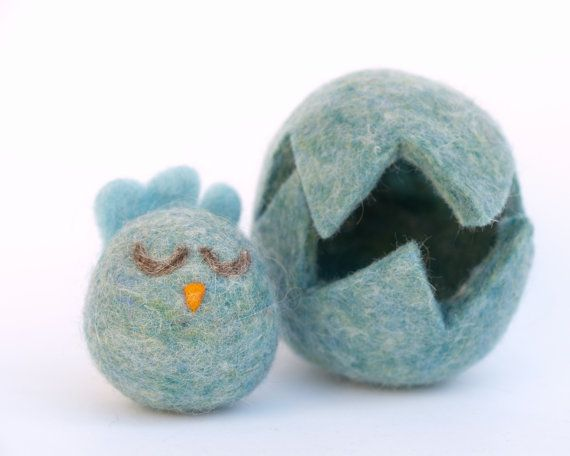 Blue+Chick+and+Egg+.+Needle+Felted+Wool+Toy+.+Boy+by+Fairyfolk