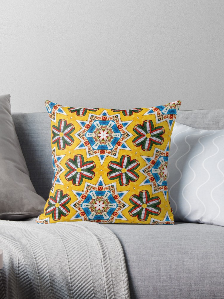 'México Loteria Pattern' Throw Pillow by Deana Greenfield