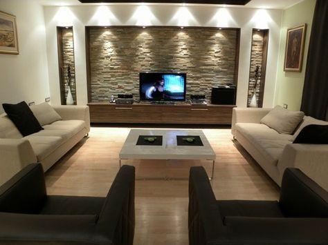 naturliche interieur mit stein haus design bilder, natursteinwand im wohnzimmer - der natürliche charme von echtem, Design ideen