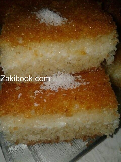 البسبوسة بالقشطة بأسهل وأبسط طريقة زاكي Middle Eastern Desserts Turkish Recipes Arabic Food
