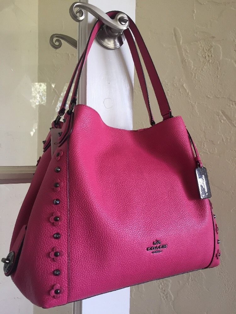c3e8031b3e Coach 37700 Edie Shoulder Bag 31 Dahlia Pink Floral Rivets Leather  Coach…