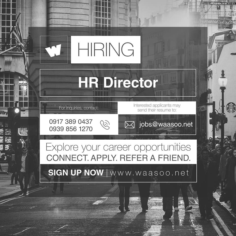 Be an HR Director now! Apply by sending your resume to