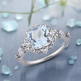 Miadora 14k White Gold Aquamarine White Sapphire and Diamond Engagement Ring #aquamarineengagementring