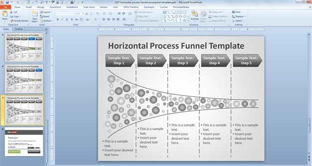 Horizontal Process Funnel PowerPoint Template health information