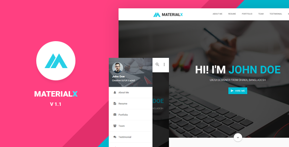 Resume Website Template Materialx  Material Design Personal Template  Design Resume And