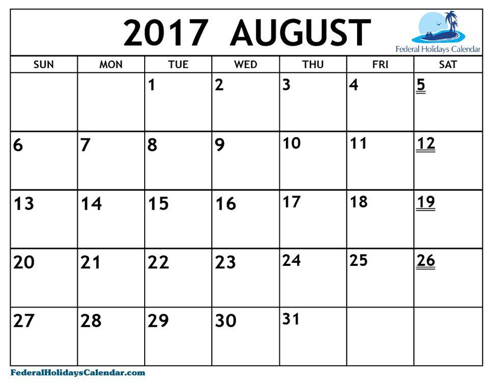August  Calendar Printable  August  Calendar