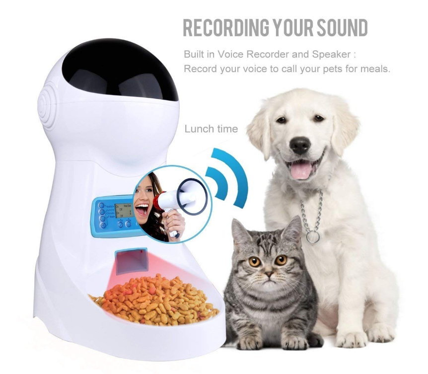 Automatic Pet Feeder Dogs Cats Food Dispenser With Voice Record Remind Timer Programmable Portion Control Distribution Alarm Pet Feeder Food Animals Pets