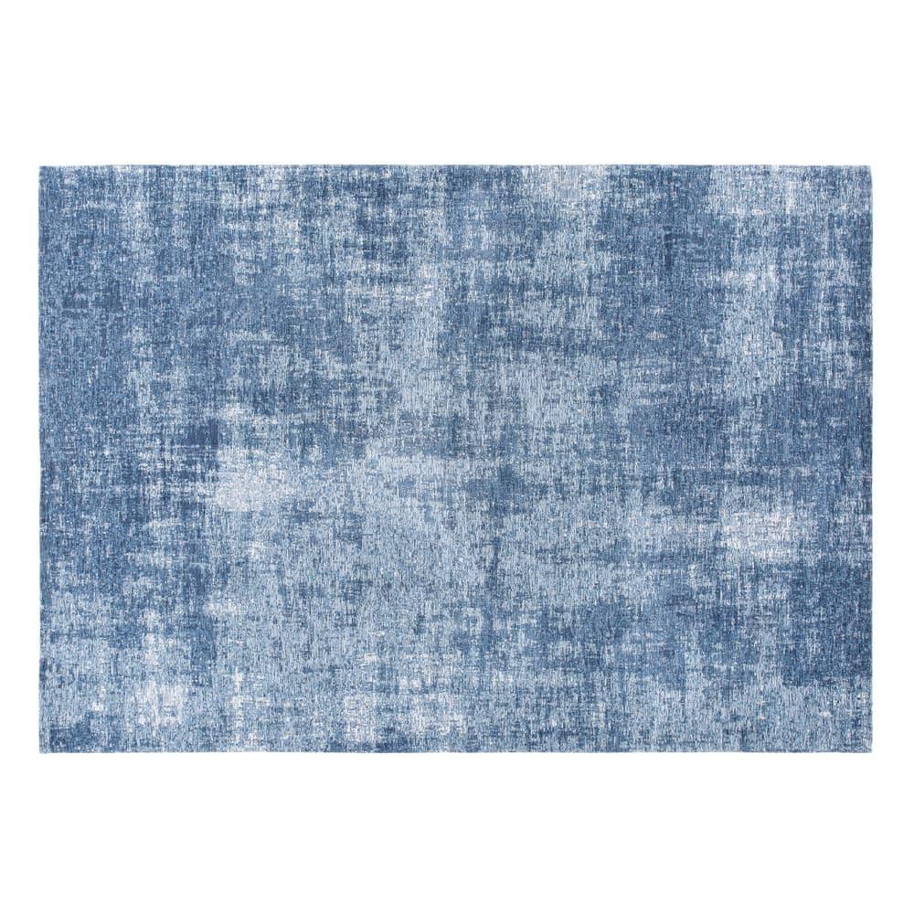 Blauer Teppich Mit Jacquardmuster 140x200 Mit Bildern Blaue Teppiche Teppich Blau Grau Teppich