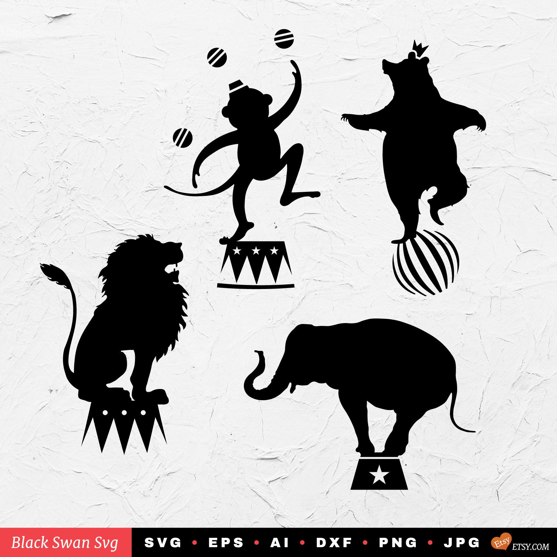 SVG 4 vintage circus silhouettes Vector file for cricut