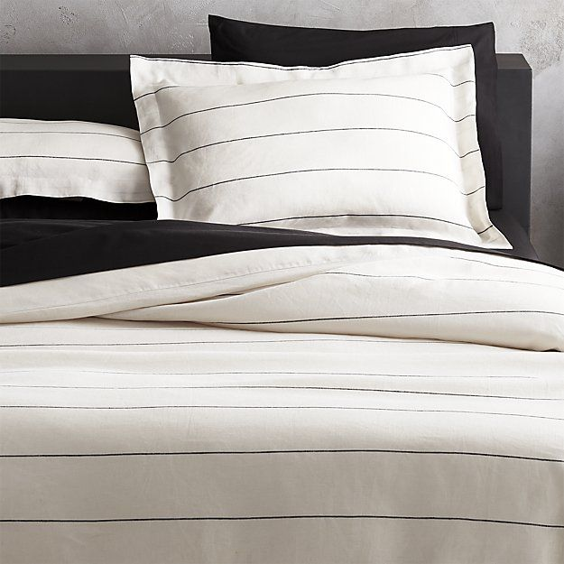 Linen Pinstripe Duvet Cover Full Queen Reviews With Images