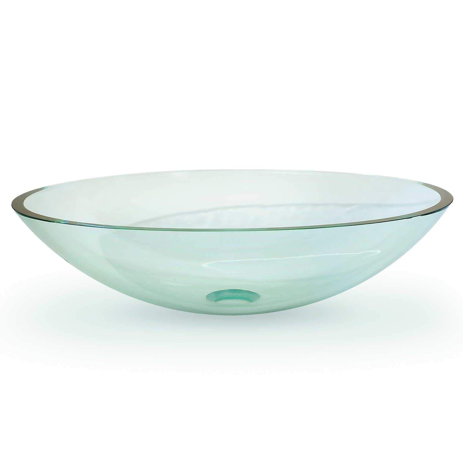 Modern Glass Vessel Sink - Bathroom Vanity Bowl - Oval ...