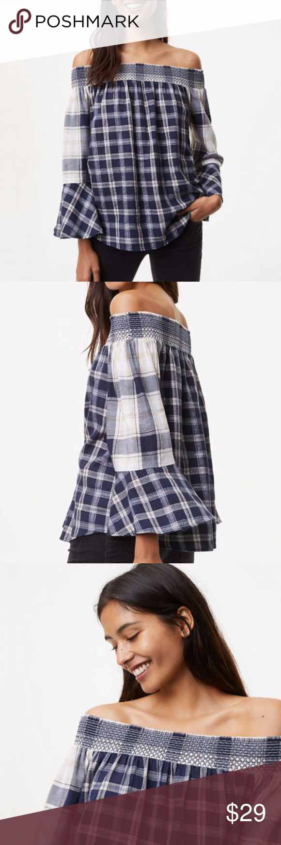 d27c58f17d7a6 Ann Taylor Loft Shimmer Plaid off the Shoulder Top Subtly shimmer meets  mixed plaid for an off the shoulder blouse with sartorial polish. Smocked  ...