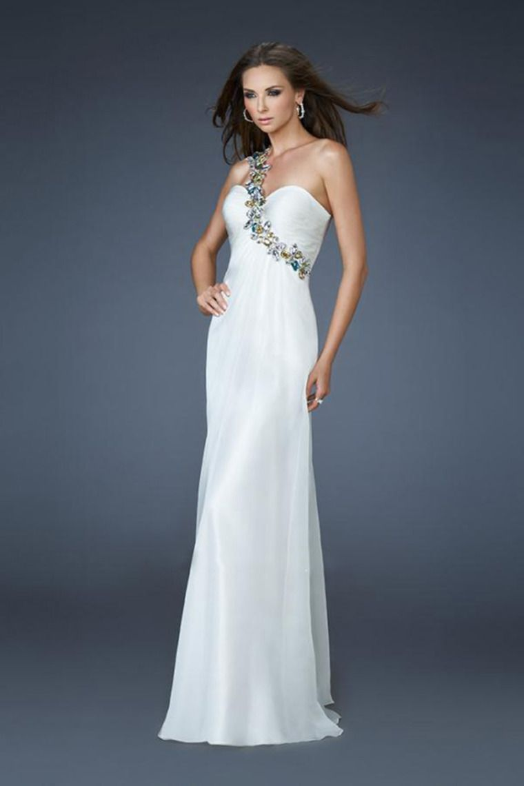 one shoulder sweetheart neckline ruched upper bodice and