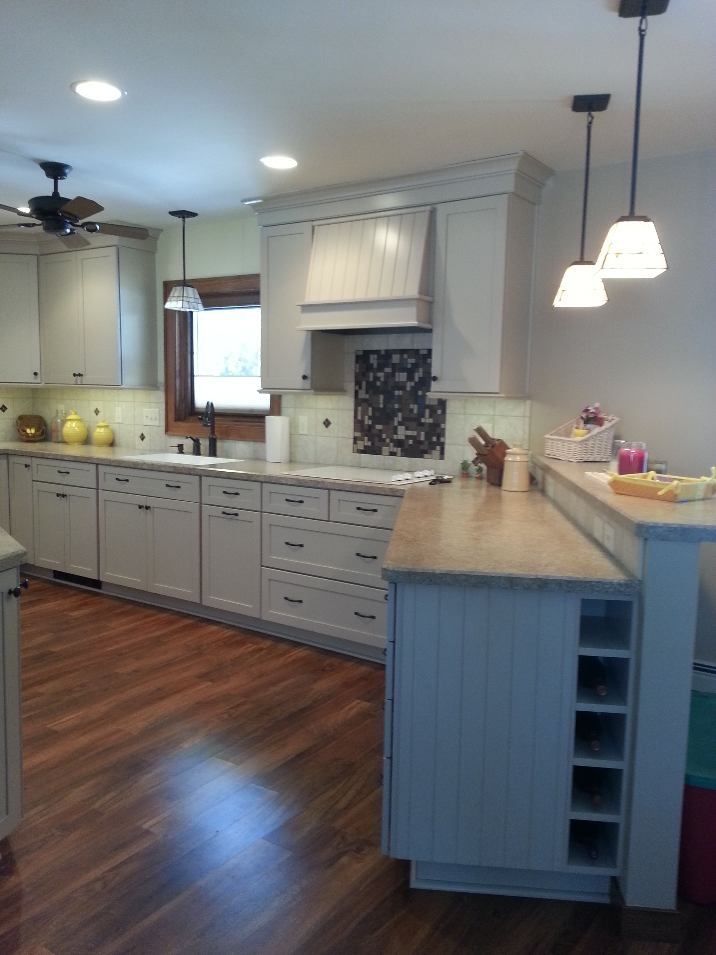 Gentil Kitchen Remodel: Kraftmaid Huntington Maple With Mushroom Finish Cabinets,  Mannington Adura Locksoild Acacia Natural