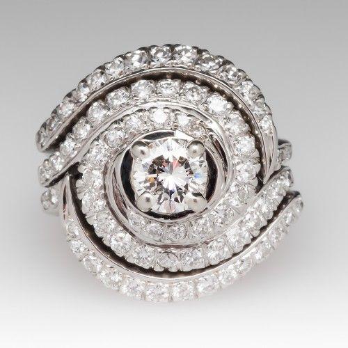 Vintage Swirl design Diamond Wedding Set 18 K White Gold