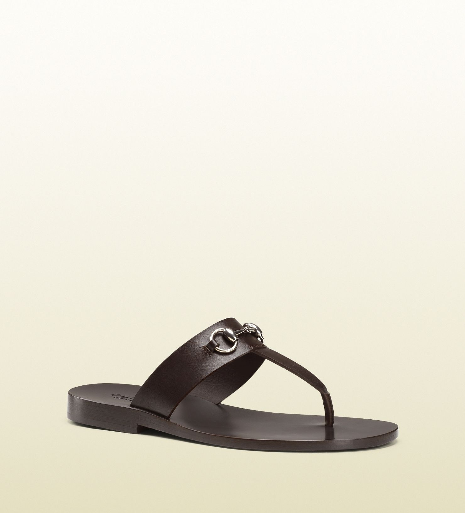 00636d493 Gucci - 337062 A4HD0 2140 - leather horsebit thong sandal - dark brown  leather Made in Italy horsebit detail leather sole